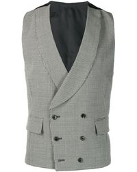 Gabriele Pasini Houndstooth Double-breasted Waistcoat - Gray