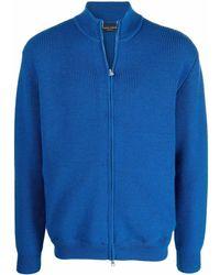 Roberto Collina Blue Wool Cardigan
