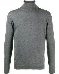 Roberto Collina Roll Neck Fine Knit Sweater - Grey