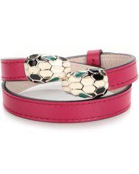 bvlgari small leather bracelet lyst