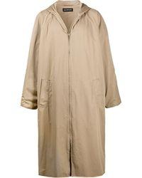 """Balenciaga Cappotto lungo """"Hooded"""" con zip - Neutro"""