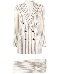 Tagliatore Striped Two-piece Suit - White