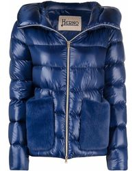 Herno Faux Fur Hood Padded Jacket - Blue
