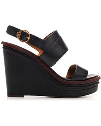 Tory Burch Selby Wedge Sandals - Black