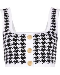 Balmain Button-embellished Houndstooth Crop Top - White