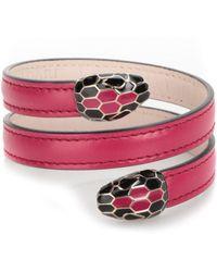 bvlgari medium leather bracelet lyst