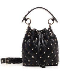 Valentino Garavani Mini Rockstud Spike Nappa Bucket Bag - Black