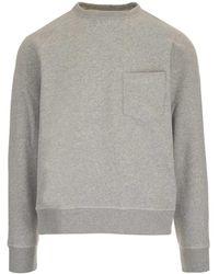 Officine Generale Crewneck Fleece Cotton Sweater - Grey