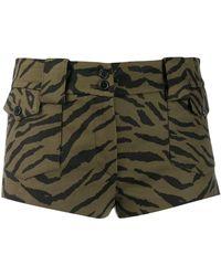 Saint Laurent Short zebrati verde militare