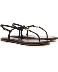 Tory Burch Emmy Leather Thong Sandals - Black