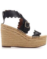 Chloé Straw Wedge Sandals - Black