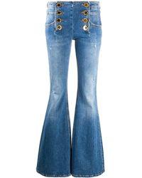 Balmain Jeans A Zampa Con Bottoni - Blue