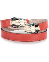 bvlgari leather bracelet lyst