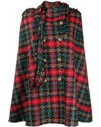 Balmain Mantella In Tweed Con Sciarpa - Multicolor