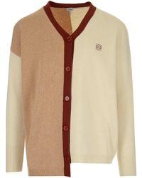 Loewe Asymmetric Design Wool Cardigan - Natural