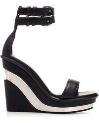 Alexander McQueen Shaped Wedge Sandal - Black