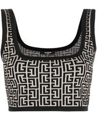Balmain Cropped Monogram Jacquard Vest Top - Black