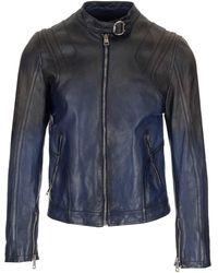 Gucci Blue Vintage Leather Jacket - Black