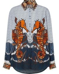 Burberry Seahorse And Monogram Print Shirt - Blue