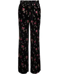 RED Valentino Rose Pattern Velvet Pants - Black