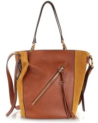 Chloé Myer Medium Leather & Suede Tote Bag - Brown