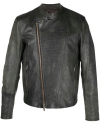 AJMONE Asymmetric Zip-front Jacket - Brown