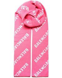 Balenciaga Sciarpa con logo all-over - Rosa
