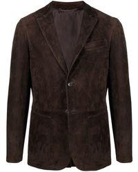 AJMONE Single-breasted Leather Blazer - Brown