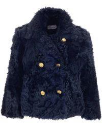 RED Valentino Blue Fur Jacket