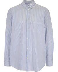 Balenciaga Camicia Oversize Con Logo - Blue
