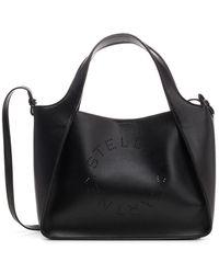 Stella McCartney Stella Logo Black Faux Leather Tote Bag