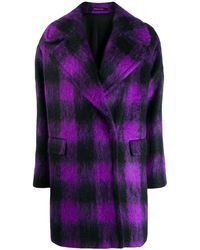 Tagliatore Oversized Plaid Coat - Purple
