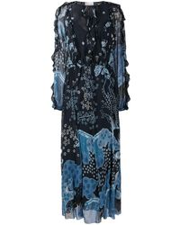 RED Valentino Patterned Tie-neck Maxi Dress - Blue