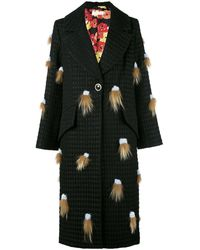 Saks Potts Fox Fur Tassel Coat - Black