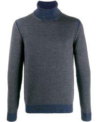 Roberto Collina Maglione a collo alto in lana blu e grigia