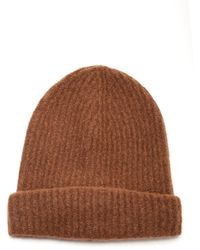Roberto Collina Cashmere Ribbed Hat - Brown