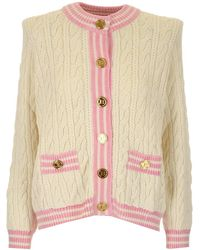 Balmain Ivory White Cable-knit Wool Blend Cardigan With Gold-tone Buttons - Pink