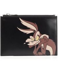 CALVIN KLEIN 205W39NYC Black Small Pouch With Wile E. Coyote Print