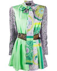 Versace Barocco Patchwork Print Mini Dress - Purple