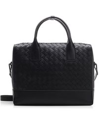 Bottega Veneta Intrecciato Leather Business Bag - Black