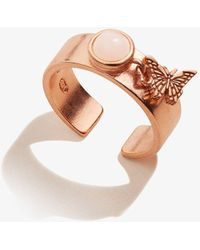 ALEX AND ANI Butterfly Charm Ring 14kt Rose Gold Plated Sterling Silver - Metallic