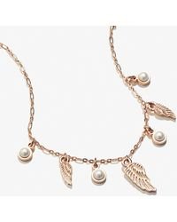 ALEX AND ANI Angel Wing And Pearl Delicate Adjustable Necklace Shiny Rose Gold - Metallic