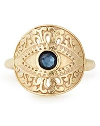ALEX AND ANI Evil Eye Adjustable Statement Ring - Metallic