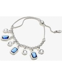 ALEX AND ANI - Sapphire Crystal Adjustable Pull Chain Bracelet Shiny Silver - Lyst
