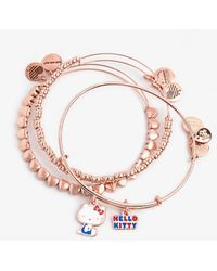 ALEX AND ANI Hello Kitty Duo Charm Bangle Set Of 3 Rose Gold - Multicolor