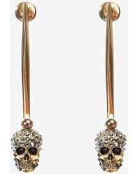 Alexander McQueen Stick Skull Earrings - メタリック