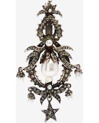 Alexander McQueen Crystal pearl hair slide - Métallisé