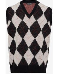 Alexander McQueen - Wool Mohair Argyle Jumper Vest - Lyst
