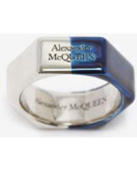 Alexander McQueen Bague hexagonale en chrome bleu - Métallisé