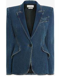 Alexander McQueen Tailoring-Jacke aus Denim - Blau